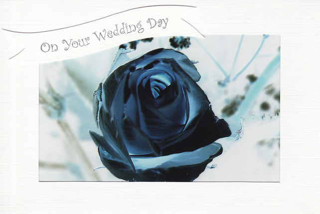 SALE - Unusual Photo On Your Wedding Day Card - Rose Bud in Blue