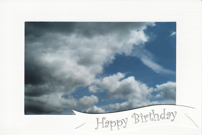 SALE - Summer Clouds Image - Happy Birthday Card - Photo Print