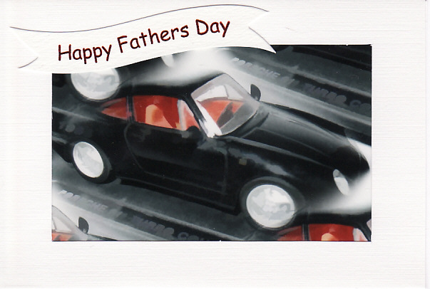 SALE - FATHERS DAY  - Greetings Card Or Notelet - BLACK PORSCHE Photo Print