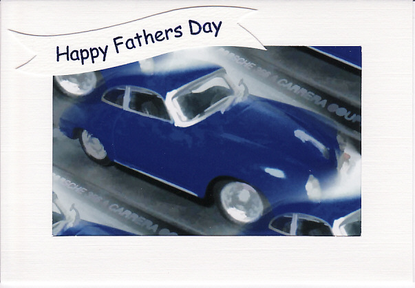 SALE - FATHERS DAY  - Greetings Card Or Notelet - BLUE PORSCHE Photo Print