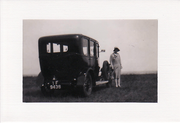 SALE - Sepie Tone Lady & Car Image - Greetings Card - Old Photo Print