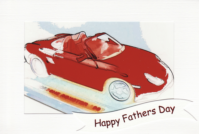 SALE - FATHERS DAY  - Greetings Card Or Notelet - RED PORSCHE Photo Print