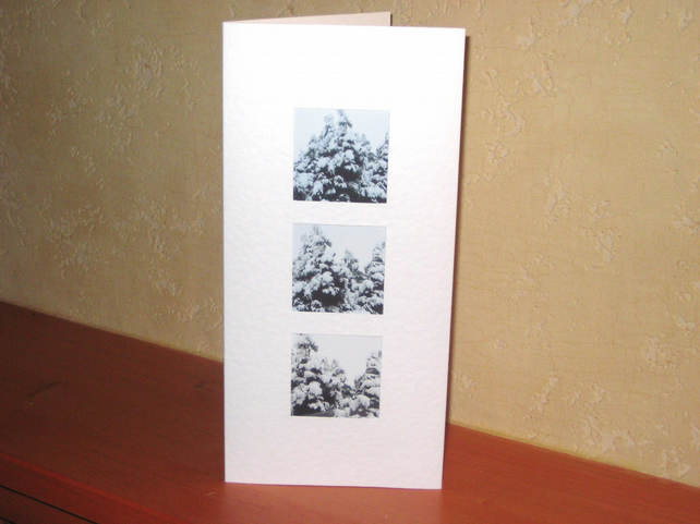 CLEARANCE----Christmas Card - Fir Trees In Snow - Winter Scene