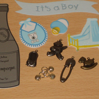 CLEARANCE -- Craft Supplies Embellishment Bundle IT'S A BOY Scrapbook Cardmaking
