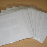 4 Window Aperture White Hammered Effect Card Blanks  Envelopes Cello Bags x 8