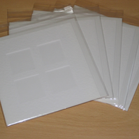 4 Window Aperture White Hammered Effect Card Blanks Envelopes Cello Bags x 5
