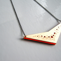 Large reversible wood and acrylic pendant on long oxidised sterling silver chain