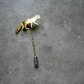 Gold-plated silver fox tie or lapel pin