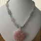Rose quartz carved rose pendant  with aquamarine and rose quartz necklace.
