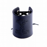 Black Leather Cuff. Thor's Hammer Black Wrist Cuff. Handmade Leather Cuff.