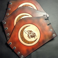 Celtic Wolf Leather Gautlet. Handmade Leather Cuff With Blood Moon Celtic Wolf.
