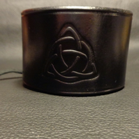 Black Leather Cuff, Handmade Leather Cuff With Celtic Trinity Knot. Lace Up Cuff