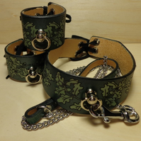 Oak Leaf Cuffs, Handmade Cuff and Collar Set, Leather Collar, Lace up Cuff