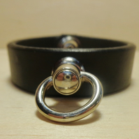 Slender Black Leather Cuff,Black Wrist Cuff With Swivel Ring, Free UK P&P