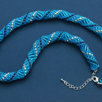 SALE: Aqua Blue Russian Spiral Necklace
