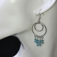 Sparkly Swarovski  Aquamarine Earrings