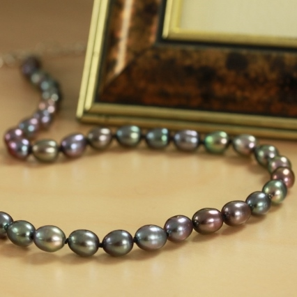 Freshwater Pearl Necklace Peacock Shades