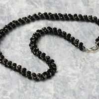 Black and Silver Spiral Necklace