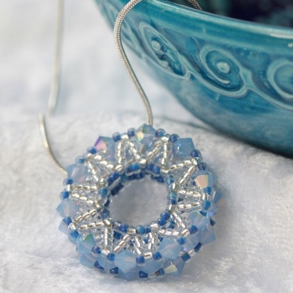 Opal Blue Beaded Wheel Pendant