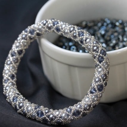 Silver and Grey Netted Bangle