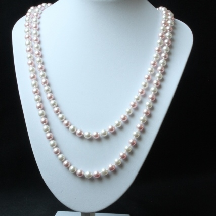 Long Pearly Pink and White Necklace