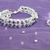 SALE: Purple and Silver Right Angle Weave Bracelet