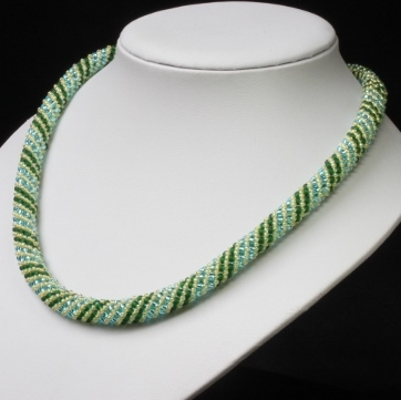 Green, Aqua and Yellow Russian Spiral Necklace