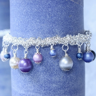 Purple, Pink and Blue Stretchy Charm Bracelet