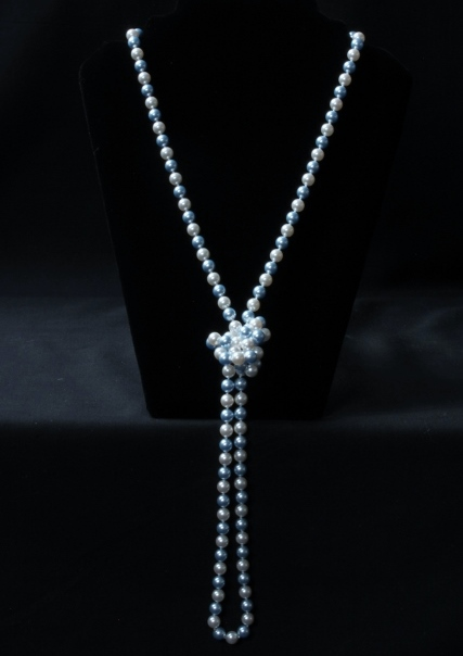 Long Pearly Blue and White Necklace