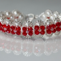 White Pearl and Red Crystal Bracelet