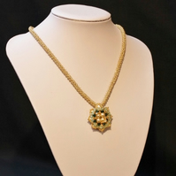 Green and Gold Flower Pendant