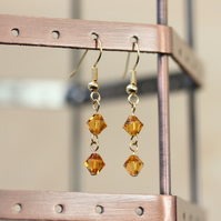 Swarovski Topaz Colour Crystal Earrings