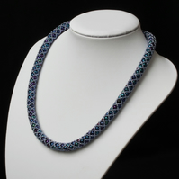 Blue Metallics Netted Necklace