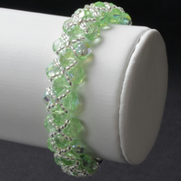 Pale Green Right Angle Weave Bracelet