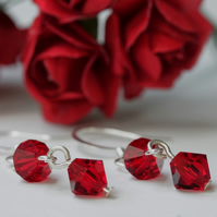 Deep Red (Siam) Swarovski Earrings