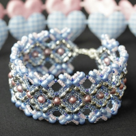 Pink and Blue Noughts and Crosses Bracelet