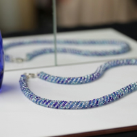 Shades of Blue Russian Spiral Necklace