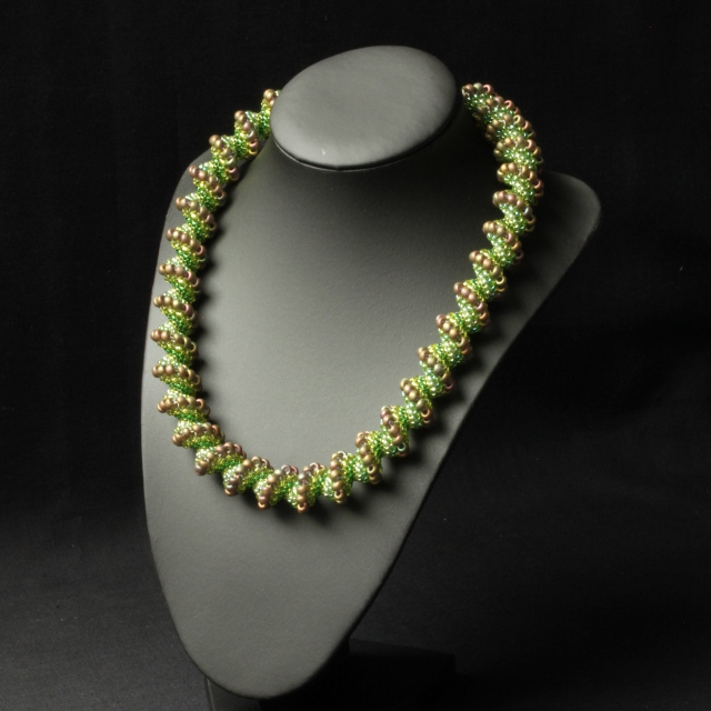 Green and Khaki Cellini Spiral Necklace