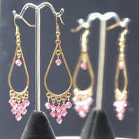 Rose Pink Dangly Swarovski Earrings