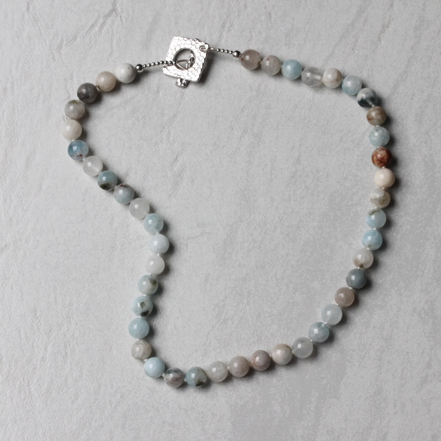 Natural Aquamarine Necklace with Pewter Toggle Clasp