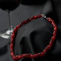 Red Russian Spiral Necklace with Firepolished Beads