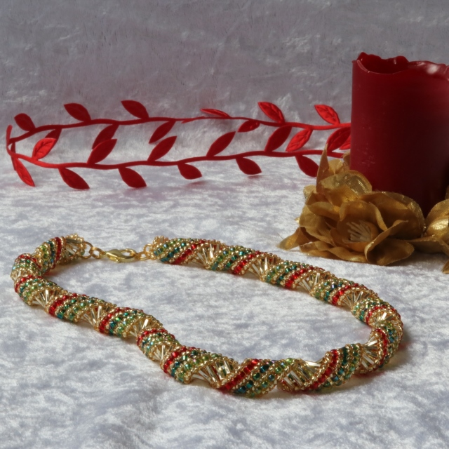 Christmas (Gold, Red and Green) Russian Spiral Necklace