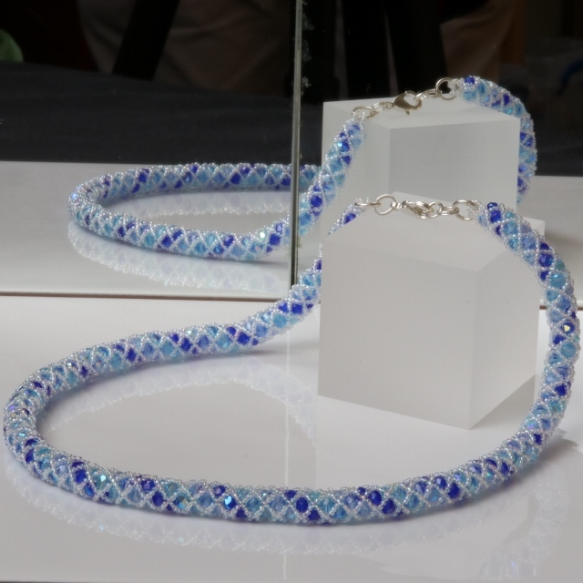 Blue and Aqua Frosty Colours Netted Necklace