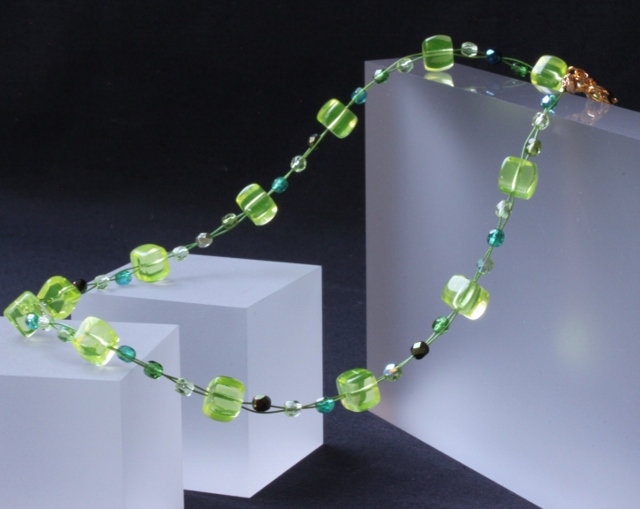 Yellow and Green Wire Necklace