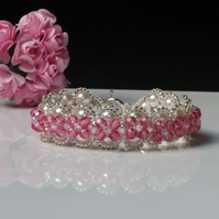 White Pearl and Pink Crystal Bracelet