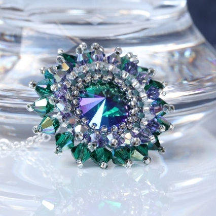 Blue, Green and Mauve Rivoli Starburst Pendant