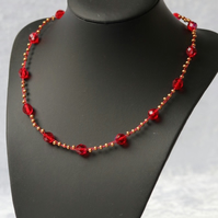 Red and Gold Wire Necklace