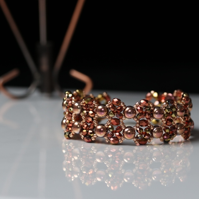 Copper Colours Beaded Bracelet