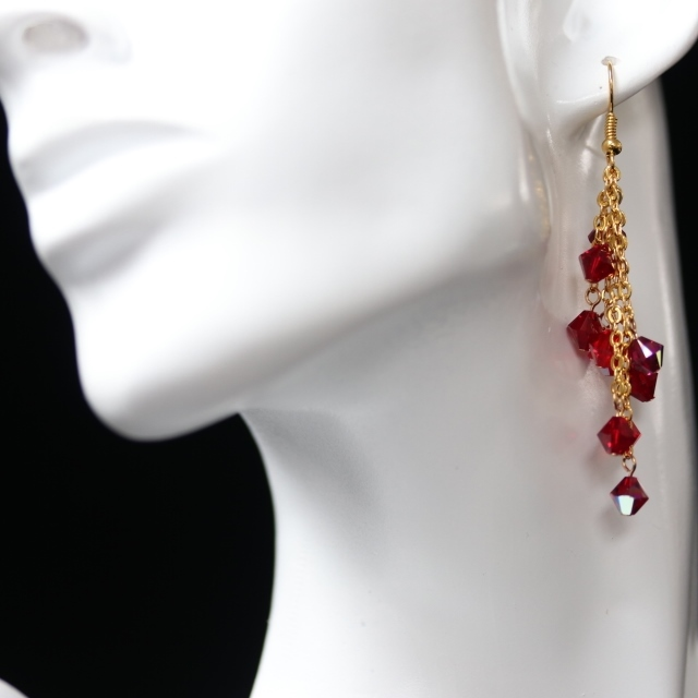 Long Red Cascade Earrings