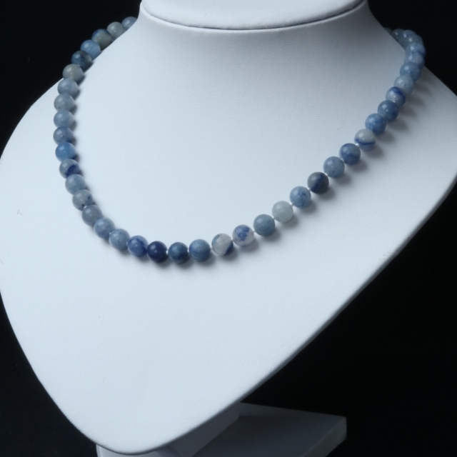 Blue Aventurine Necklace with Silver Plated Toggle Clasp